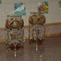 Moser Design Bohemian Czech Amber Cut To Clear Flower Glass Mantle Lusters 11