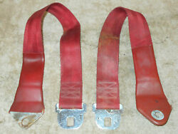 1965 1966 1967 Mustang Gt Gta Cougar Xr7 Orig Deluxe Red Front Outer Seat Belts
