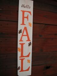 Wood Door Sign Hello Fall Porch Vertical Weathered Farmhouse Handmade 33 Tall