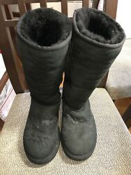 Ugg Australia 5815 Womenand039s Black Suede Classics Tall Boots Size 5 Euc