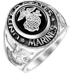 Men's 14k Or 10k Yellow Or White Gold Us Marine Corps Military Solid Back Ring