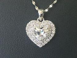 1 Carat Wedding 14k White Gold Vs1 Necklace Heart Diamond Womens Flawless Real