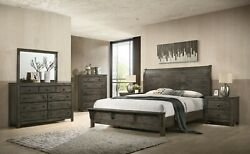 Contemporary Brown/gray Color 4p Queen Size Bed Solid Wood Furniture Bedroom Set