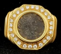 Vintage 18k Yellow Gold Antique Coin Ring