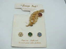 Beautiful Brooch Pin Gold Tone Leaf Interchaneable Snap Ins Rhinestones Fx Pearl