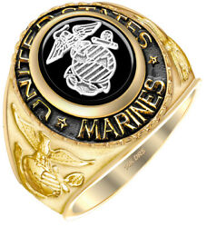 New Men's Two Tone 14k Or 10k Yellow Or White Gold Us Marine Corps Military Ring