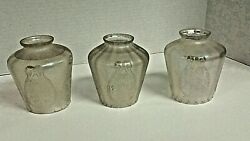 Vintage Antique Rare Frosted Glass Lamp Shades Globes Lot Of 3, Fitting 2 1/4
