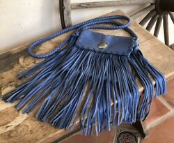 Collection Wedgewood Blue Leather Fringed Western Cross Body Bag