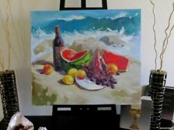Wine And Fruits By The Sea Oil Canvas Painting Still Life Russian Signed Listed