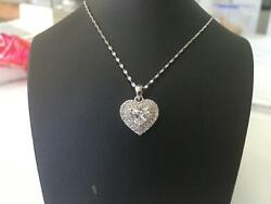 Heart Diamond Necklace Natural 1.05 Ct Solitaire And Accents 14 Kt White Gold