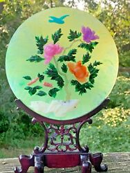 Antique 19c Chinese Carved Lotus Flowers And Bird Jade Plate Teak Stand Rare ❤️j8