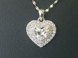 Solitaire And Accents Necklace Heart Shape Diamond 14 Karat White Gold 1.15 Carat