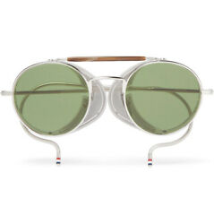 NWB $1750 THOM BROWNE Round Sunglasses With Visor TB-001A-T-48 Silver Green Tint