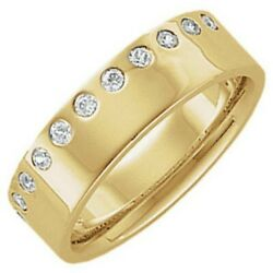 14 Kt Yellow Gold And Gypsy Set Diamond Edge Only Cigar Band Ring...new