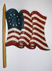 Patriotic Carved Wooden 13 Star Betsy Ross Us American Flag Wall Hanging Aafa