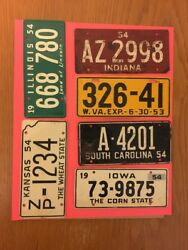 Vintage 6 Lot 1953 1954 Wheaties Cereal Bicycle License Plate Tags