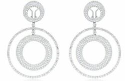 EXTRA LARGE 13.30CT DIAMOND 18KT WHITE GOLD 3D CIRCULAR CLIP ON HANGING EARRINGS