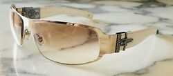 Chrome Hearts Deviant II Diamond & Ruby White Leather Sunglasses * VINTAGE*