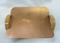 Vintage Revere New York Copper Serving Tray With Wooden Handles