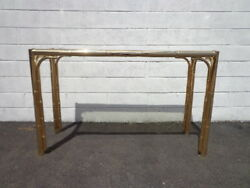 Faux Bamboo Console Table Brass Gold Bohemian Boho Chic Sofa Accent Stand Entry