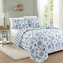 Twin Full Queen King Bed Blue White Anchors Nautical Crab Seashell 3pc Quilt Set