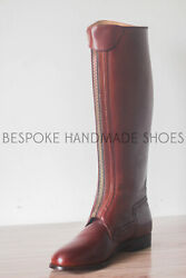 Handmade Menand039s Genuine Premium Brown Leather Horse Riding Long Zipper Boots