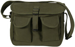 Olive Drab 2 Pocket Canvas Military Ammo Carry Shoulder Bag $11.99