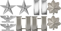 Silver Chrome Shiny Polished Military Ranking Insignia Set Pin On - USA MADE