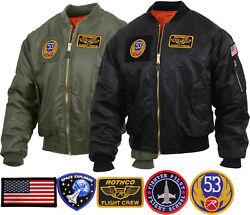 Mens Military Air Force Style Ma-1 Flight Jacket With 5 Removable Patches