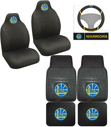 7pc Nba Golden State Warriors Car Floor Mats Seat Covers Steering Wheel Cover