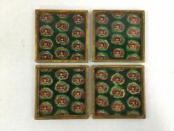 Vintage Raggedy Ann Andy Coaster Set Of 4 Wooden Gloss Top Green Red Doll Rare