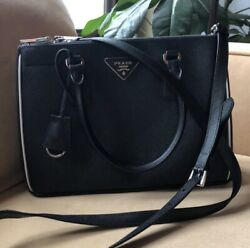 Black Prada Galleria Bag - Special Edition Red Interior New Without Tags