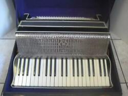 Accordion Vintage Collectable Old Working Made In Italy Black And Silver With Case