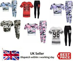 Girls Kids Adios Camouflage Tracksuit Childrenand039s Crop Top Leggings Set Size 5-13