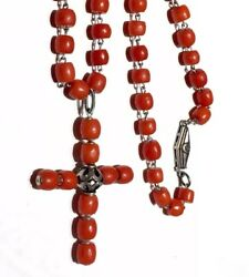 Antique Exceptional!! Red no dye Coral Barrel beads Coral cross link necklace