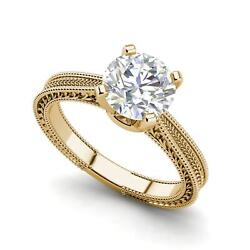 Hand-engraved Solitaire 0.75 Ct Vs1/d Round Cut Diamond Ring Yellow Gold