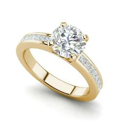 Channel Set 2.7 Carat Si1/d Round Cut Diamond Engagement Ring Yellow Gold