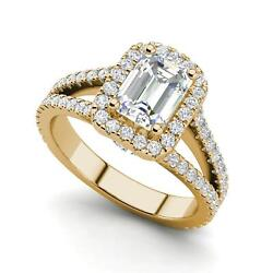 Pave Halo 1.8 Carat Si1/d Emerald Cut Diamond Engagement Ring Yellow Gold