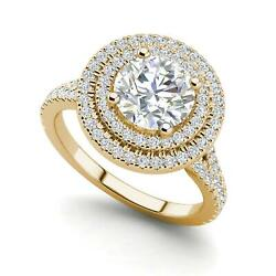 Double Halo 2.3 Carat Vs2/h Round Cut Diamond Engagement Ring Yellow Gold