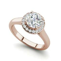 Halo Solitaire 1.9 Carat Vs2/f Round Cut Diamond Engagement Ring Rose Gold