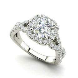 Infinity Halo 2.15 Carat Si1/d Round Cut Diamond Engagement Ring White Gold