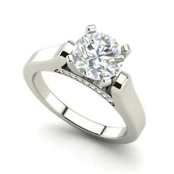 Cathedral Solitaire 1 Ct Vs2/f Round Cut Diamond Engagement Ring White Gold