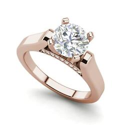 Cathedral Solitaire 1 Ct Vs2/f Round Cut Diamond Engagement Ring Rose Gold