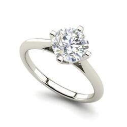 4 Claw Solitaire 1.5 Carat Vs2/d Round Cut Diamond Engagement Ring White Gold