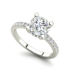 French Pave 1.15 Carat Vs2/h Round Cut Diamond Engagement Ring White Gold