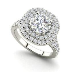 Double Halo 2 Carat Si1/d Round Cut Diamond Engagement Ring White Gold