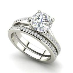 Micropave Set 1.8 Carat Si1/d Round Cut Diamond Engagement Ring White Gold