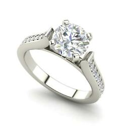 Channel 1.5 Carat Vs1/f Round Cut Diamond Engagement Ring White Gold