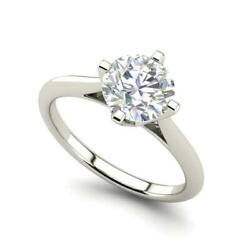 4 Claw Solitaire 1.25 Carat Si1/d Round Cut Diamond Engagement Ring White Gold
