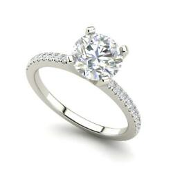 French Pave 1 Carat Vs1/d Round Cut Diamond Engagement Ring White Gold